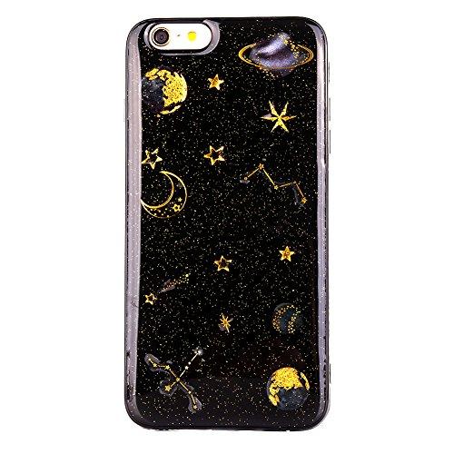 Edaroo iPhone 6S Hülle, Bling Glänzend goldene Planet Sternenstaub Mond Entwurf Funkeln Glitzer Glitter Shiny Schwarz Pailletten Sterne Case Handyhülle TPU Silikon Bumper für iPhone 6/6S 4,7