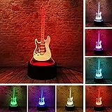 Wallfia Creative dessin animé 3D musique électrique guitare modèle de basse diapositive lumière LED 7 changement de couleur gradient bébé enfants dorment nuit cadeau