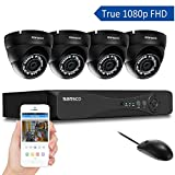 SANSCO All-in-One Smart CCTV Camera System with 1080P DVR and 4 x 2.0MP FHD Day Night Vandal-Proof Dome Cam