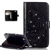 Kompatibel mit Sony Xperia Z3 Compact Hülle,Strass Glänzend Prägung Blumen Reben Schmetterling PU Lederhülle Handyhülle Taschen Flip Wallet Ständer Etui Schutzhülle für Sony Xperia Z3 Compact,Schwarz