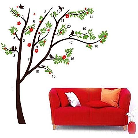 Diseño con texto en inglés marrón DIY árbol de PVC de tela de pájaros de pared adhesivo 1,15 x 1,3 m