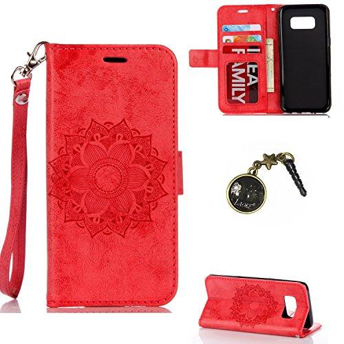 Preisvergleich Produktbild Galaxy S8 Plus Case Leder Tasche Case Hülle im Bookstyle mit Standfunktion Kartenfächer für (Samsung Galaxy S8+ / S8 Plus (6,2 Zoll) Hülle +Staubstecker #P (6)