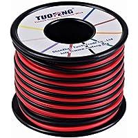 TUOFENG 16 AWG Cable, 20 m de cable de silicona Suave y flexible Alambre de cobre estañado Resistencia a altas temperaturas 2 cables separados 10 m Negro y 10 m Cable rojo trenzado para impresora 3D, cables de prueba, RC appli