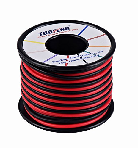 TUOFENG 16 AWG Draht 20 m Silikondraht flexibel Verzinnter Kupferdraht Hohe Temperaturbeständigkeit 2 separate Drähte 10 m schwarz und 10 m rot Draht für 3D-Drucker Messleitungen (2-leiter 16-gauge)