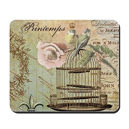 Vintage French Shabby Chic Birdcage - Non-Slip Rubber Mousepad, Gaming Mouse Pad