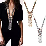 FAVOLOOK Vintage Retro Rhinestone Silver Gold Turquoise Long Boho Bohemian Statement Ethnic Tribal Necklace for Women(20*80cm,Gold)