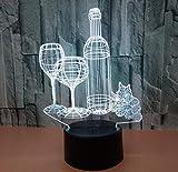 Veilleuses pour Petite nuit lumière colorée bouteille interrupteur tactile USB Lampe 3D illusion optique lampe de table décoration d'anniversaire cadeau de Noël la protection de l'environnement de bureau.