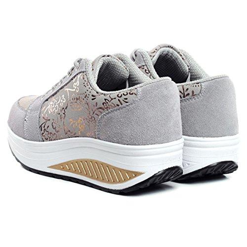 YUHUAWYH Scarpe da Donna Running Sneakers Outdoor Multisport Grigio