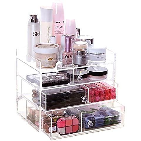 XL® Cosmetici contenitore box desktop di storage di grandi dimensioni in acrilico trasparente multi-draw e box di stoccaggio rossetto XF L317