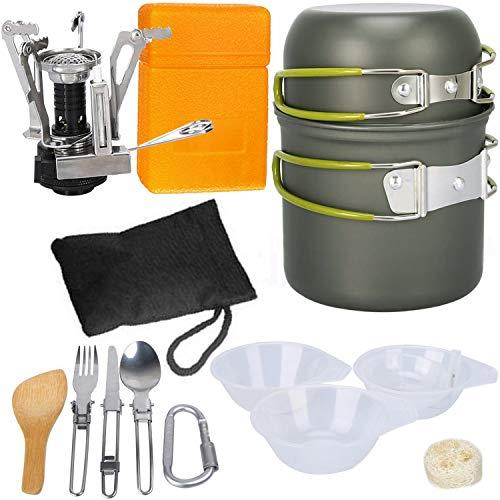 G4Free, set di utensili da cucina da campeggio, per trekking, viaggi con zaino in spalla, picnic, Green-13 PC