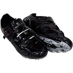 VeloChampion Elite SPD MTB Chaussures de vélo pour Hommes Femmes idéal pour la Montagne, Cyclo Cross Country XC vélos en Noir/Argent + Chaussettes Inclus (43)