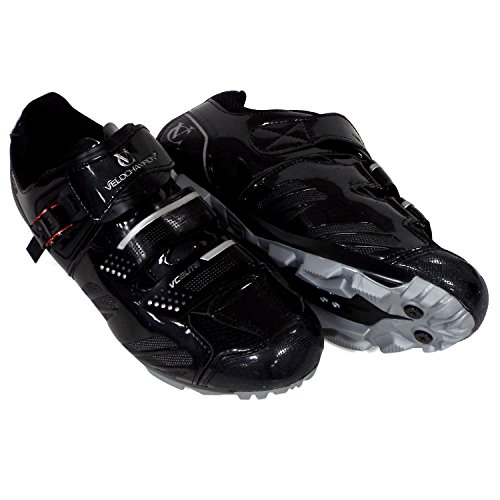 VeloChampion Elite SPD MTB Cycling Shoes for Men Women Ideal for Mountain, Cyclo Cross Country XC Bikes in Black/Silver + Socks Included (Size 43)