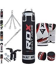 RDX MMA 8PC Set De Boxe 4FT 5FT Sac De Frappe Lourd Mural Rempli Pied Poing Kickboxing Cible Crochet De Plafond