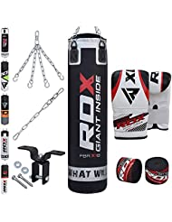 RDX Sac de Frappe Rempli Lourd MMA Punching Ball Muay Thai Arts Martiaux Kickboxing Kit Boxe Avec Gants Chaine Suspension support Mural Punching Bag