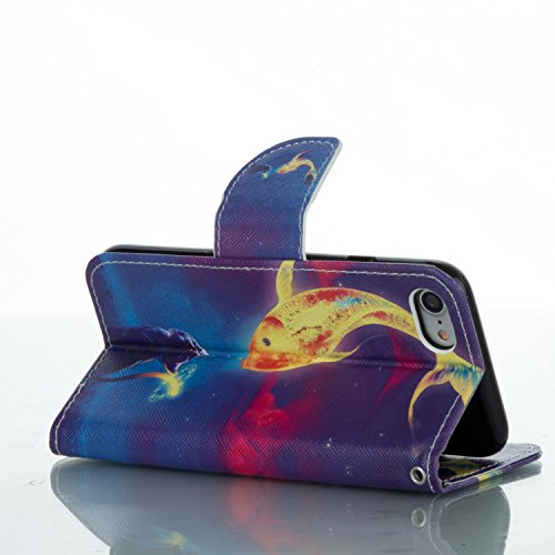 Custodia Cover iPhone 7/8,Copertura per iPhone 7/8 , iPhone 7/8 case portafoglio, Pelle Custodia per iPhone 7/8 ,iPhone 7/8 casa del raccoglitore, Flip Case per iPhone 7/8 , Ukayfe Moda Dipinto disegn I gatti amano il pesce