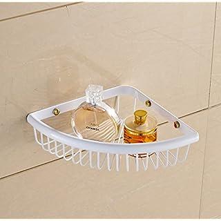 ASDFG Brass Bath Shelf Wall Mounted Cosmetic Holder Storage Basket,White