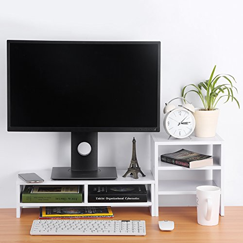 Computer Laptop Monitor Riser Stand Desktop Holz Speicher Organizer + 3-Schicht Regal (Weiß)