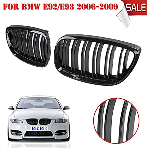 wanoos brillante negro Frontal Riñón Rejillas Línea Doble Grill para BMW E92E93M32door 2007200820092010
