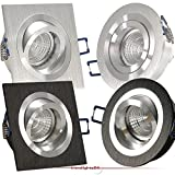 Decken Einbauleuchte NOBLE Schwarz (auch in Silber); 230V (auch als 12V); rund (auch in eckig); schwenkbar; OHNE Leuchtmittel; Aluminium; Einbaustrahler Einbauspot NOBLE S2