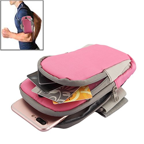 BING Für iPhone, Samsung, HTC, Sony, Lenovo, Huawei, Xiaomi und andere Smartphones, interne Größe: 17.5x10x3cm, Universal Zipper Double Bag Multifunktions Sport Arm Case mit Kopfhörerloch BING ( Color Pink
