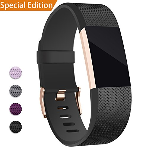 Mornex Für Charge 2 Armband, Original Ersatzarmband der Verschluss in Rose Gold, Sport Fitness Watch Band für Fitbit Charge 2 Armband, Schwarz, Small