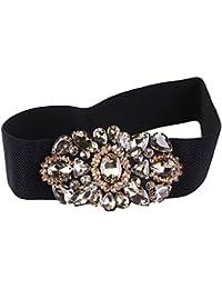 Belingeya Cinturon elástico de Mujer Mujeres Super Crystal Decoración  Elastic Wide Waistband Mujeres Cintura Cinturón Negro 1b81c947dd50