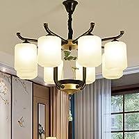 Ceiling Lamp Home Araña Creativa de Loto de Vidrio Estilo Chino Sala de Estar Que Enciende