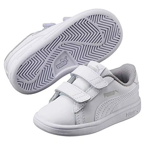Puma Unisex-Kinder Smash v2 L V PS Sneaker,Weiß (Puma White-Puma White), 32 EU