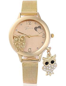 Souarts Damen Armbanduhr mit Eule Anhänger Einfach Mesh Metallarmband Casual Analoge Quarz Uhr Gold Farbe