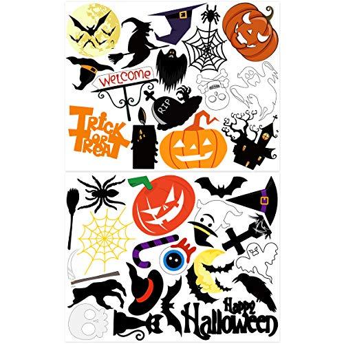 Amosfun Halloween-Gefälligkeiten Aufkleber Glücklich Halloween Party Dekorationen Haus Wand Horror Abnehmbare Aufkleber Süßes Oder Saures Dekorationen, 2 Blätter 35 Muster