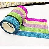 5M 5 brillo de los colores Washi pegajoso papel de enmascarar la cinta adhesiva de la etiqueta DIY de la decoración