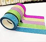 5M 5 Farben Glitter Washi Sticky Papier Masking Klebeband-Aufkleber DIY Fertigkeit-Dekor