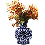 Beautifully HandCrafted Ceramic Decorated Flower Vase Matka Shape | Decorated Flower Pot | Set Of 1 | Decorated Flower Vase HandPainted Ceramic Decorated Home Decor Product | Authentic Blue Pottery Art Work | Use For Home Decor, Personal & Professiona