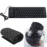Cable World Silicone Flexible Soft Roll-up Waterproof Portable USB Wired Keyboard for PC Notebook Laptop (Black, Foldable Wired Keyboard - Black)