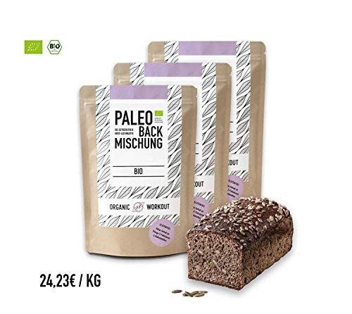 Mischung Diät (Organic Workout PALEO-BACKMISCHUNG 3er Pack | Bio | gluten-frei | lower-carb | Eiweiss-Brot-Alternative | clean-eating | Fitness-Brot-Alternative | hefefrei | ohne Getreide | hergestellt in Deutschland)