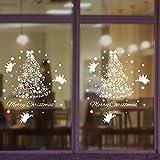 Natale decorazione parete vetro adesivi romantico bianco Natale albero finestra vetrofanie , 90*60cm