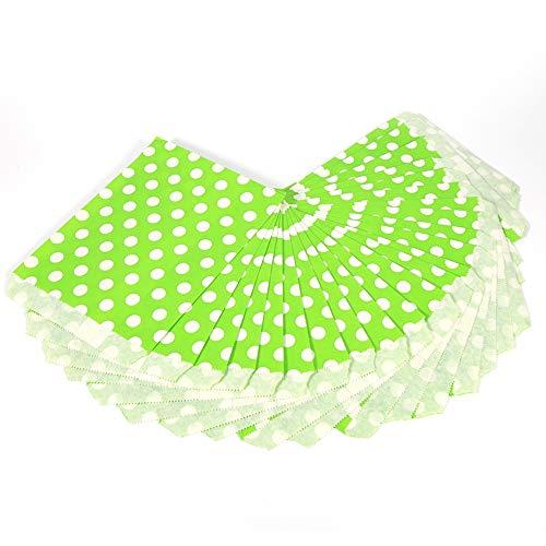 Candy Papiertüten, Süßigkeiten Tüten Papier Punkte Muster Geschenktüten für Hochzeit, Geburtstag Party 25pcs (Grün)