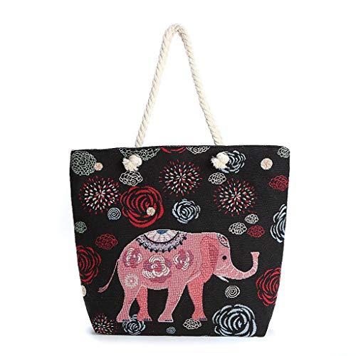 ZHJ Leinentaschen einzelne Schulter-gestickte Elefant-Tasche große Kapazitäts-Schüler-Beutel-Schule-Beutel-Art-Speicher-Beutel Schultertaschen