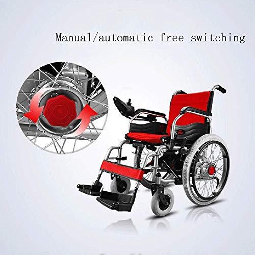 51B4SZ4n3XL - MJY Batería de litio Silla de ruedas eléctrica Plegable Ligero Portátil Doble uso Pequeño Compacto Silla de ruedas ultraligera fgj