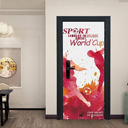 3D Tür Aufkleber DIY Wasserdichte Tür Dekorative Wandaufkleber Wohnzimmer Schlafzimmer PVC Abnehmbare Poster Tapete Grün Holztür Renovierung Heißes Blut World Cup Selbstklebende Wandbild 77 * 200Cm