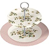 Creative Tops Katie Alice Cottage Flower Vintage inspired 2-Tier Cake Stand, Multi-Colour
