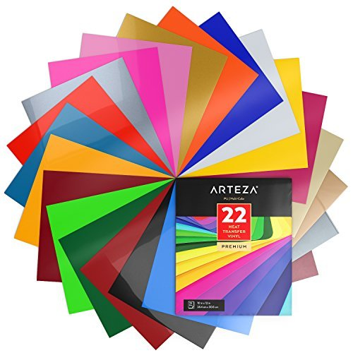 ARTEZA Wärmeübertragung Vinylfolie, 25.4 x 30.5cm (10 x 12 Zoll), Packung mit 22 Heat Transfer Vinylblättern, vielseitige Plotterfolie, Vinyl Papier für Hitzedruck-Transfer von Bügelbildern