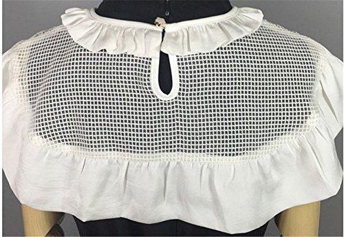 100% Handmade Petit Châle/Cape/ Echarppe Femme Fille Décoratif Pour Robe T-Shirt Gilet Blouse Pull Sweater Soirée Fête Trvail Détachable Vintage Blanc/Noir Blanc
