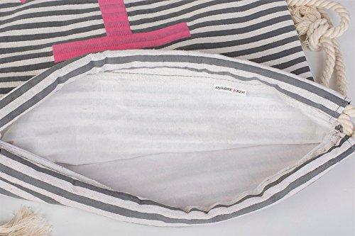 styleBREAKER zaino sportivo dal design marinaresco a righe con stampa di ancora, borsa da sport, unisex 02012052, colore:Petrolio-Bianco / Rosso Marino-Bianco / Bianco