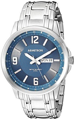 Armitron Men's Quartz Stainless Steel Dress Watch, Color:Silver-Toned (Model: 20/5295NVSV)