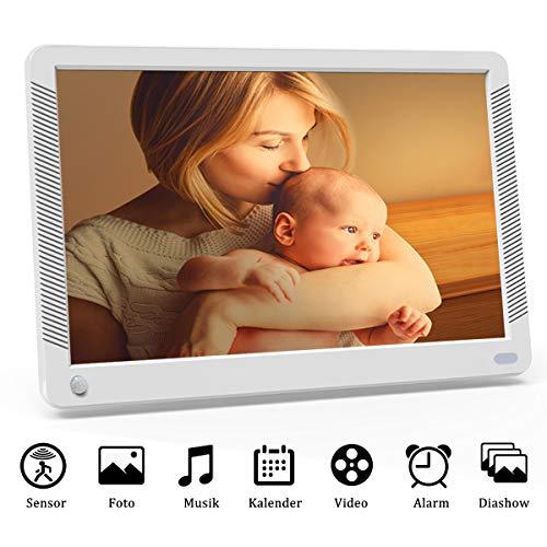 Digitaler Bilderrahmen 10 Zoll 1920x1080 HD IPS Display Elektronischer Bilderrahmen für Foto/Video/Wecker/Uhr/Kalender/Auto EIN/AUS Timer mit Bewegungssensor und Fernbedienung