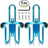 Dimples Excel Porta Borracce Borraccia Water Bike Bicycle Bottle Cage MTB Regolabile Porta Bottiglia Alluminio Bicicletta Portabottiglie D'acqua Gabbie per Bicicletta Universale (2 Pezzi) (2 pezzi (blu + blu))