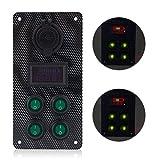 ronben Car SUV Racing Engine Start Push LED Button Toggle Zündschloss Carbon Panel + voltmeter + USB Ladegerät