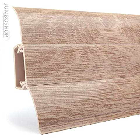 10m Sockelleisten Fussleisten 62mm x 23mm aus Kunststoff -- Perfecta 114 Eiche Weiß -- Fussbodenleiste Laminat Dekore Parkett