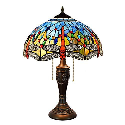 Tiffany-Stil Tischlampe 40CM kreative Glasmalerei blaue Libelle Retro geeignet für Wohnzimmer Esszimmer Schlafzimmer Kopfteil exquisite Geschenk Tischlampe